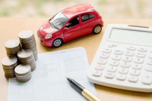 money, pile coin with account book and car, concept